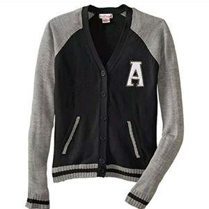 Girls Pink Angel Varsity sweater Girls sm